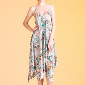 Flowy Warped Tile Print Ankle dress